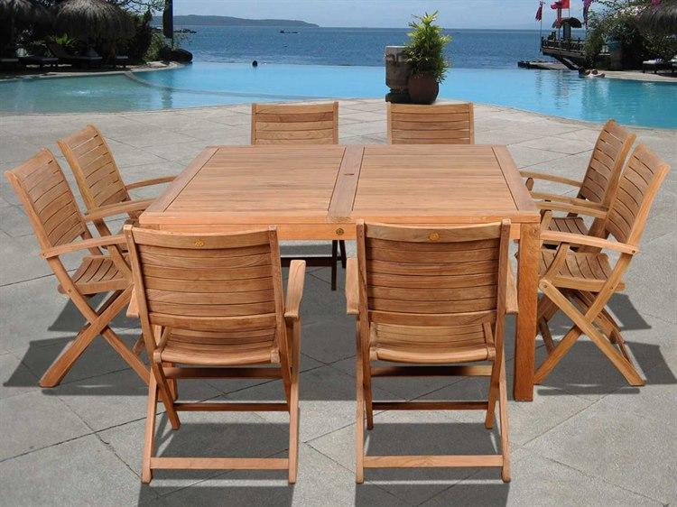 International Home Miami  Amazonia Teak Square Nine Piece Boynton Dining Set PatioLiving