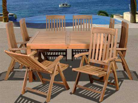 International Home Miami  Amazonia Teak Square Nine Piece Eiffel Dining Set