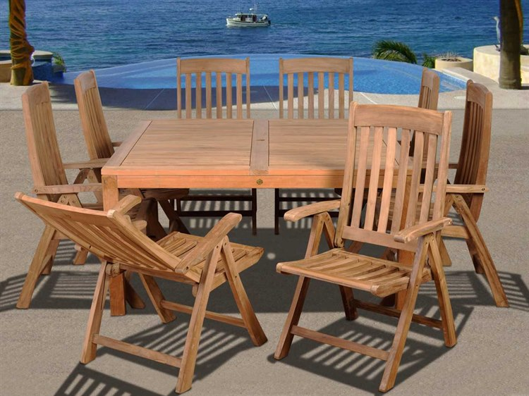International Home Miami  Amazonia Teak Square Nine Piece Eiffel Dining Set PatioLiving