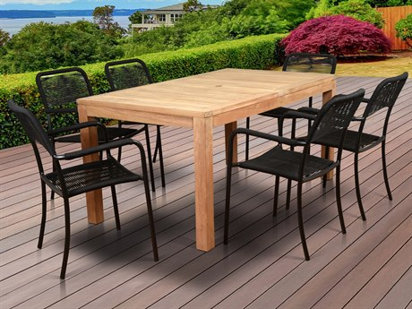 International Home Miami Amazonia Oosterdam 7 Piece Teak Rectangular Dining Set