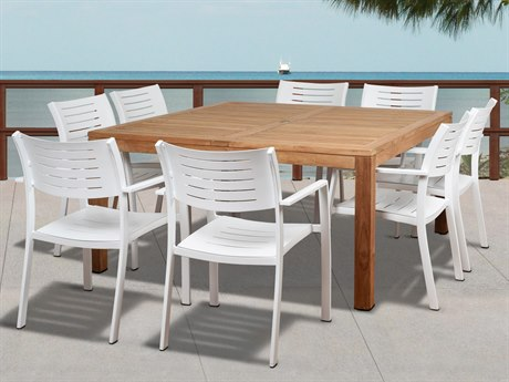International Home Miami Amazonia Noordam 9 Piece Teak Square Dining Set