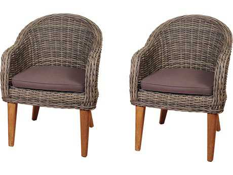 International Home Miami Amazonia Teak/Wicker Guam 2 Piece Arm Chair Set with Brown Cushions