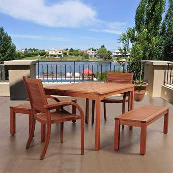 International Home Miami Amazonia Eucalyptus Richfield 5 Piece Eucalyptus Rectangular Dining Set IMSC2RICHFIELD2CATABT361