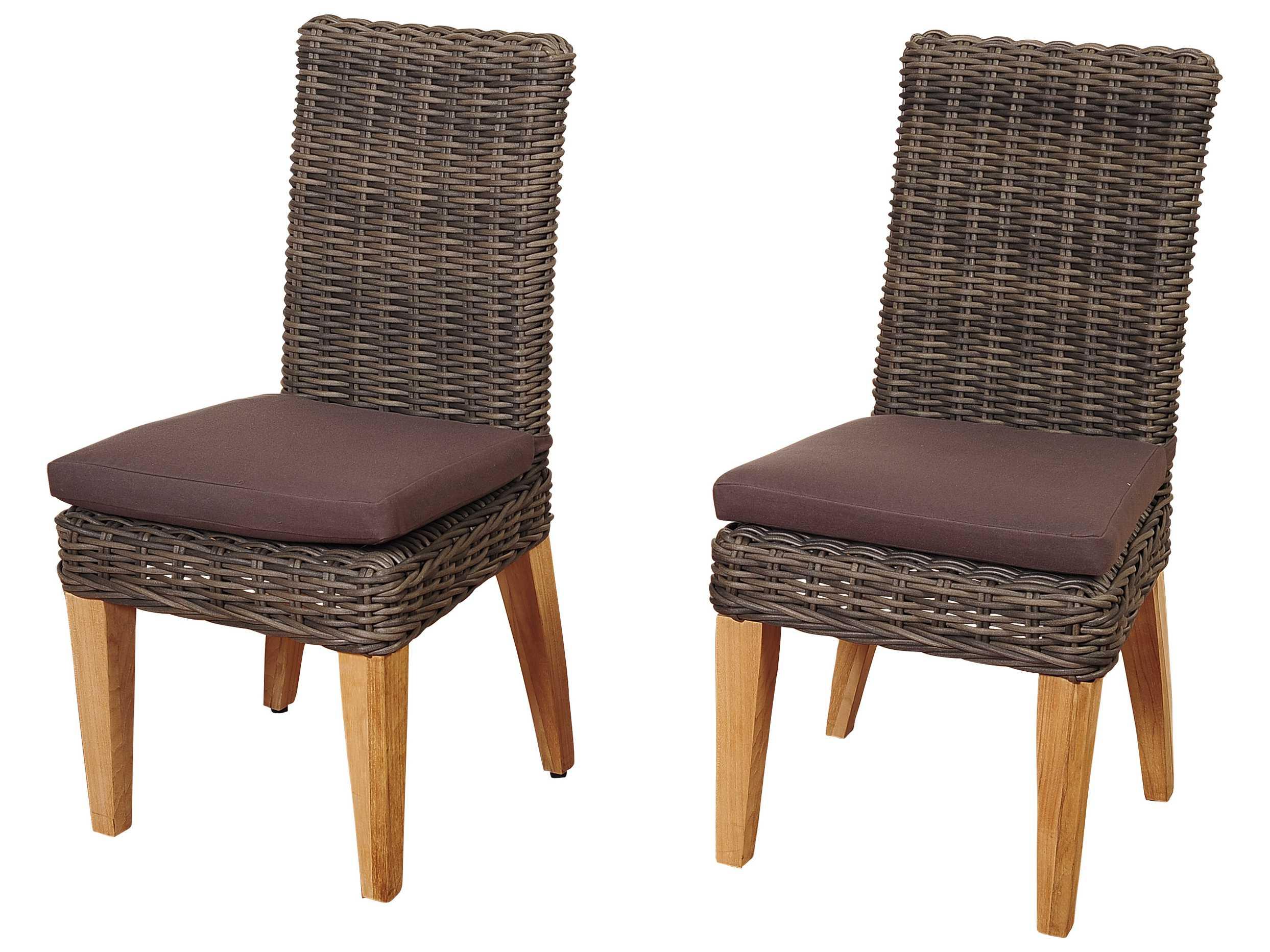 International Home Miami Amazonia Teak Wicker Singapore 2 Piece Arm Chair Set With Brown Cushions