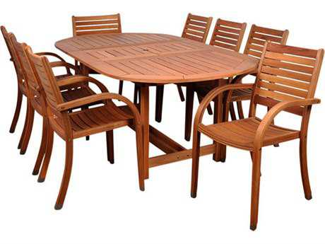 International Home Miami  Amazonia Eucalyptus Oval Nine Piece Extendable Arizona Dining Set
