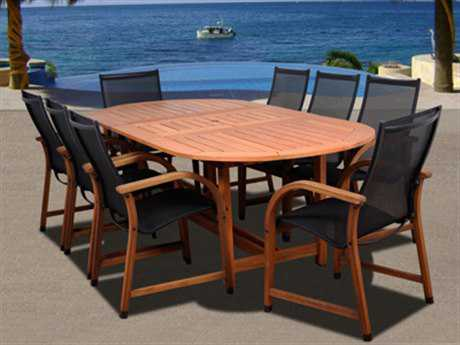 International Home Miami  Amazonia Eucalyptus Oval Nine Piece Extendable Bahamas Dining Set