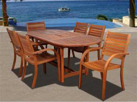 International Home Miami  Amazonia Eucalyptus Oval Seven Piece Extendable Arizona Dining Set