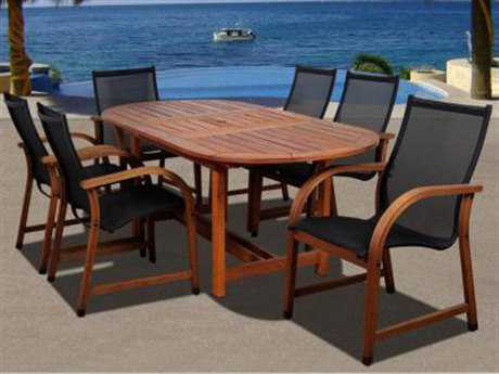 International Home Miami  Amazonia Eucalyptus Oval Seven Piece Extendable Bahamas Dining Set