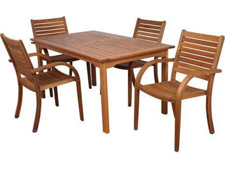 International Home Miami  Amazonia Eucalyptus Rectangular Five Piece Arizona Dining Set PatioLiving
