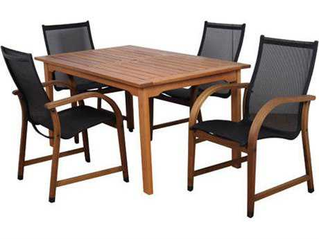 International Home Miami  Amazonia Eucalyptus Rectangular Five Piece Bahamas Dining Set