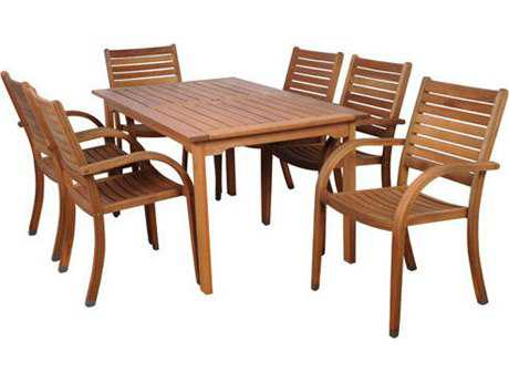 International Home Miami  Amazonia Eucalyptus Seven Piece Rectangular Arizona Dining Set