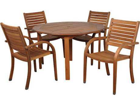 International Home Miami  Amazonia Eucalyptus Round Five Piece Arizona Dining Set