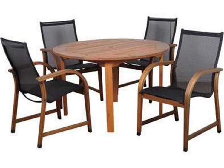 International Home Miami  Amazonia Eucalyptus Round Five Piece Bahamas Dining Set