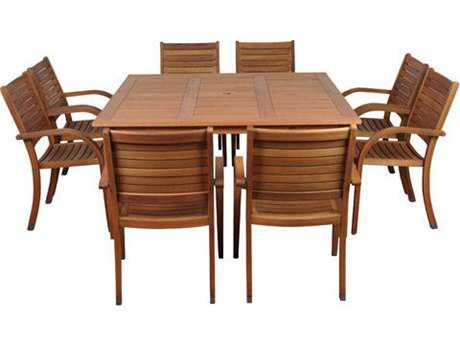 International Home Miami  Amazonia Eucalyptus Square Nine Piece Arizona Dining Set