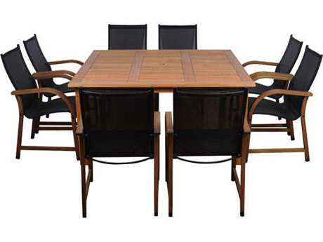 International Home Miami  Amazonia Eucalyptus Square Nine Piece Bahamas Dining Set