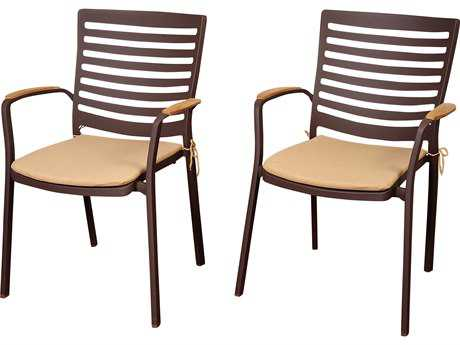 International Home Miami Amazonia  Teak/Cast Aluminum Clemente 4 Piece Arm Chair Set with Tan Cushions