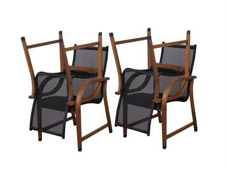 International Home Miami  Amazonia Bahamas 4 Piece Eucalyptus Arm Chair Set with Brown Sling Seat