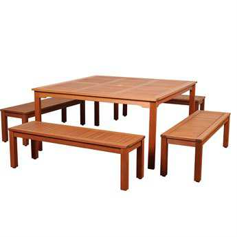 International Home Miami Amazonia Richfield 5 Piece Eucalyptus Square Dining Set