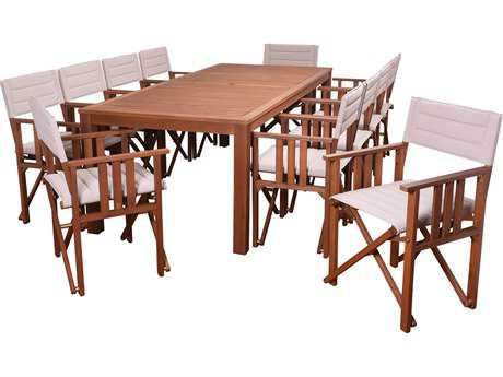 International Home Miami Amazonia Panama 11 Piece Rectangular Dining Set Khaki