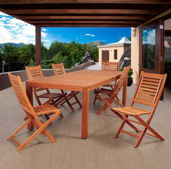International Home Miami Amazonia Eucalyptus Bradford 7 Piece Eucalyptus Rectangular Dining Set