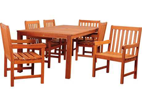 International Home Miami Amazonia Eucalyptus Bristol 7 Piece Eucalyptus Rectangular Dining Set