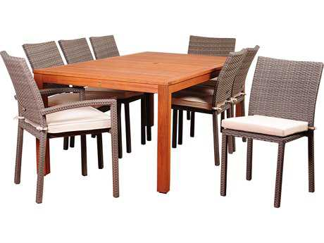 International Home Miami Amazonia Wodd & Wicker Vienna 9 Piece Eucalyptus Rectangular Dining Set with Off-White Cushions