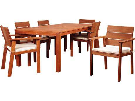 International Home Miami Amazonia Eucalyptus Nelson 7 Piece Eucalyptus Rectangular Dining Set with Striped Beige and Off-White Cushion