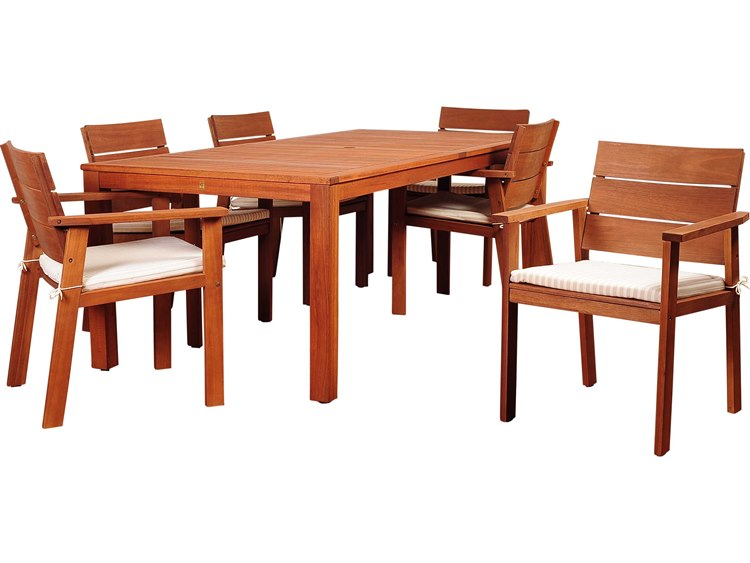 International Home Miami Amazonia Eucalyptus Nelson 7 Piece Eucalyptus Rectangular Dining Set with Striped Beige and Off-White Cushion PatioLiving