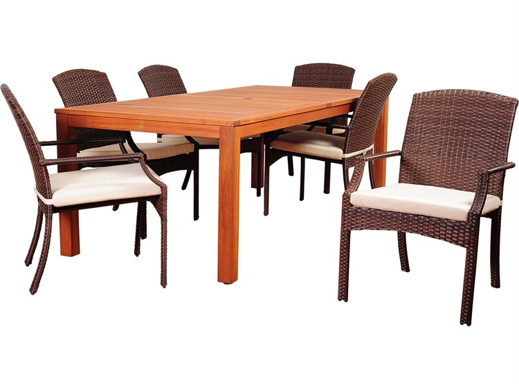 International Home Miami Amazonia Eucalyptus & Wicker Hallie 7 Piece Eucalyptus Rectangular Dining Set with Off-White Cushions