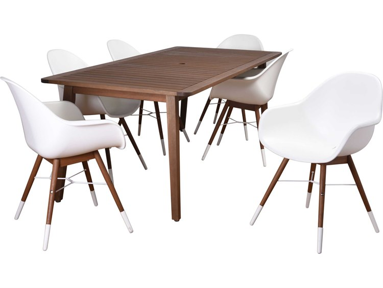 International Home Miami Amazonia Charlotte 7 Piece Eucalyptus Rectangular Dining Set White