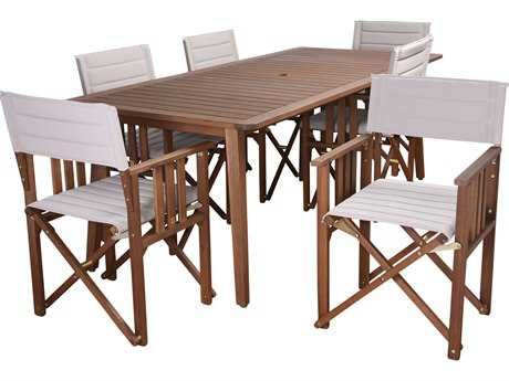 International Home Miami Amazonia Panama 7 Piece Rectangular Dining Set Khaki