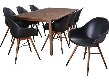 International Home Miami Amazonia Charlotte 9 Piece Eucalyptus Rectangular Dining Set Black