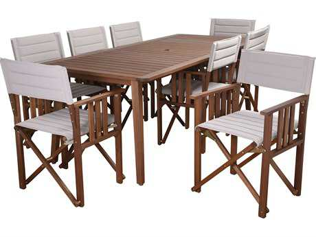 International Home Miami Amazonia Panama 9 Piece Rectangular Dining Set Khaki PatioLiving