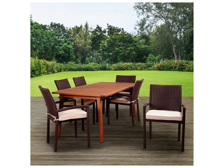 International Home Miami Amazonia Adelson 7 Piece Eucalyptus Rectangular Dining Set with Off-White Cushions PatioLiving