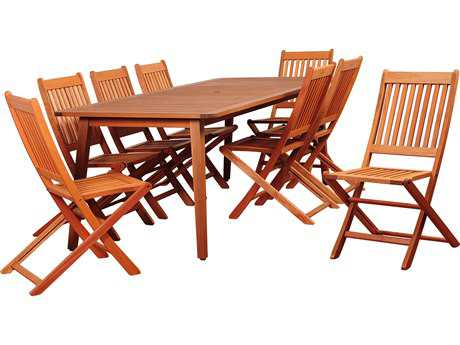 International Home Miami Amazonia Callahan 9 Piece Eucalyptus Rectangular Dining Set with Off-White Cushions