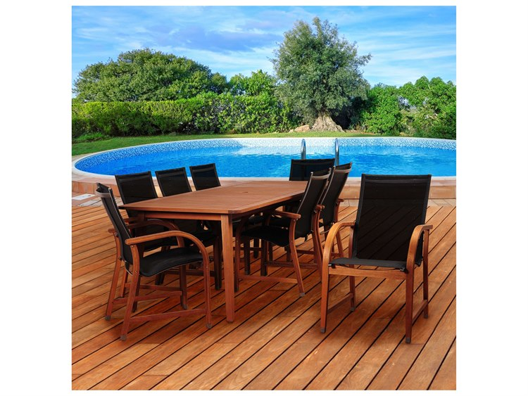 International Home Miami Amazonia Bahamas 9 Piece Eucalyptus Rectangular Dining Set with Black Sling Chair PatioLiving