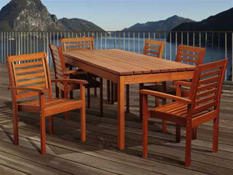 International Home Miami  Amazonia Eucalyptus Rectangular Seven Piece Emerson Dining Set