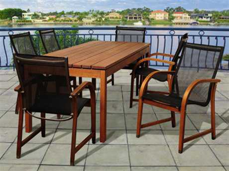 International Home Miami  Amazonia Eucalyptus Rectangular Seven Piece Fletcher Dining Set