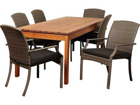 International Home Miami  Amazonia Eucalyptus & Wicker Rectangular Seven Piece Walton Dining Set with Grey Cushions
