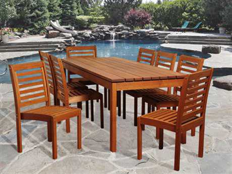 International Home Miami  Amazonia Eucalyptus Rectangular Nine Piece Elliot Dining Set