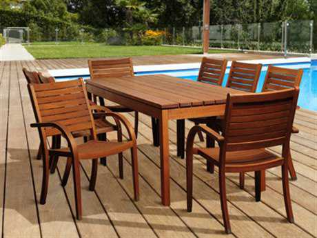 International Home Miami  Amazonia Eucalyptus Rectangular Nine Piece Freeman Dining Set