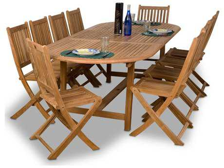 International Home Miami  Amazonia Teak Oval 11 Piece Extendable Bergen Dining Set