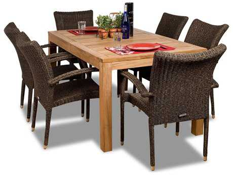 International Home Miami  Amazonia Teak & Wicker Rectangular Seven Piece Brussels Dining Set