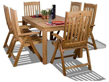 International Home Miami  Amazonia Teak Rectangular Seven Piece Bucarest Dining Set