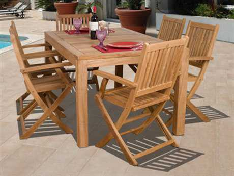 International Home Miami  Amazonia Teak Rectangular Seven Piece Budapest Dining Set