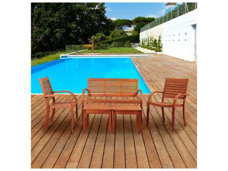 International Home Miami Amazonia Eucalyptus Arizona 5 Piece Eucalyptus Seating Set