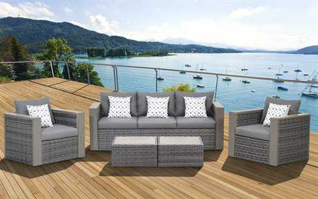 International Home Miami  Atlantic Wicker Grey Five Piece Cebu Conversation Set PatioLiving