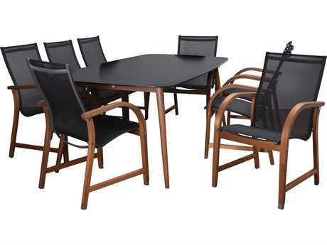 International Home Miami Amazonia Carolina 9 Piece Rectangular Dining Set Black