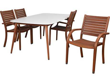 International Home Miami Amazonia Charlotte Deluxe 5 Piece Rectangular Dining Set White