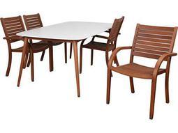 Amazonia Charlotte Deluxe 5 Piece Rectangular Dining Set White